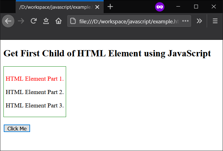 JavaScript - Get First Child of an HTML Element