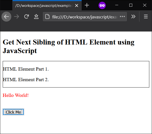 JavaScript - Get Next Sibling of an HTML Element