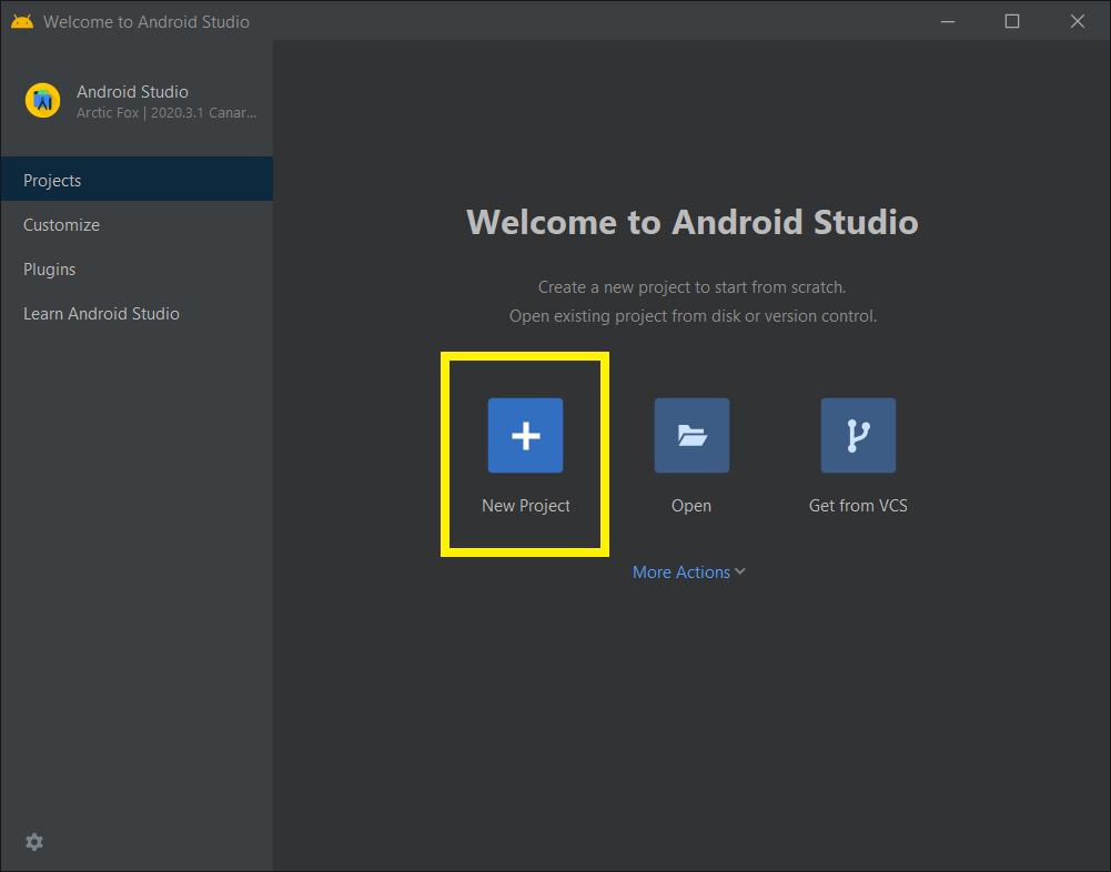 Create New Android Studio Project with Jetpack Console