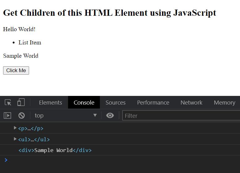 JavaScript - Get Children of an HTML Element