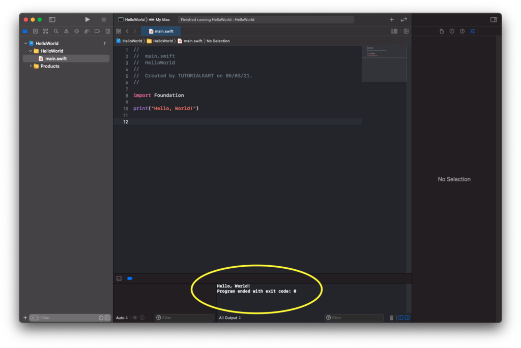 Swift Hello World Program - Output