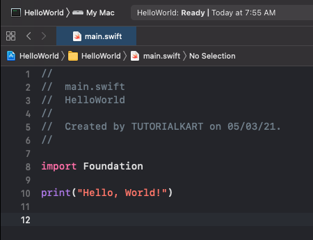 Swift Hello World Program