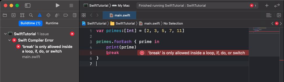 Break inside Swift forEach raises Compiler Error during Buildtime
